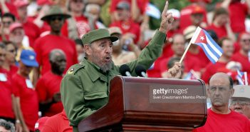 Fidel Castro, President of Cuba gives a speech during the traditional 1st of May political act, at  the Plaza de la Revolucion, the Revolution Square. To the right Cubas Vice President Carlos Lage.